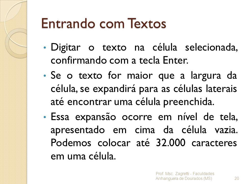Entrando com Textos Digitar o texto na célula selecionada, confirmando com a tecla Enter. Se o texto for maior que a largura da célula, se expandirá p