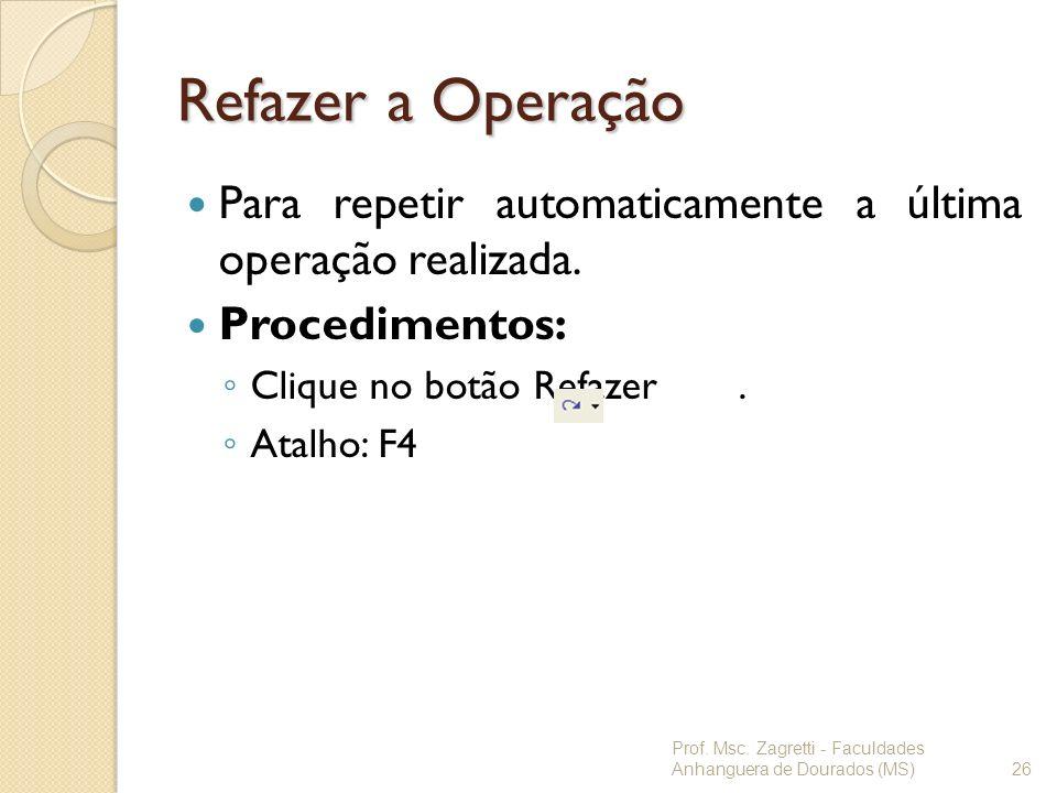 Refazer a Operação Para repetir automaticamente a última operação realizada. Procedimentos: Clique no botão Refazer. Atalho: F4 Prof. Msc. Zagretti -