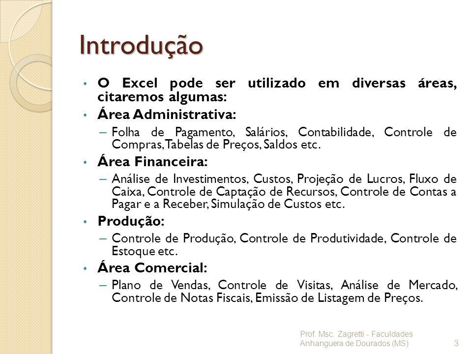Introdução O Excel pode ser utilizado em diversas áreas, citaremos algumas: Área Administrativa: – Folha de Pagamento, Salários, Contabilidade, Contro