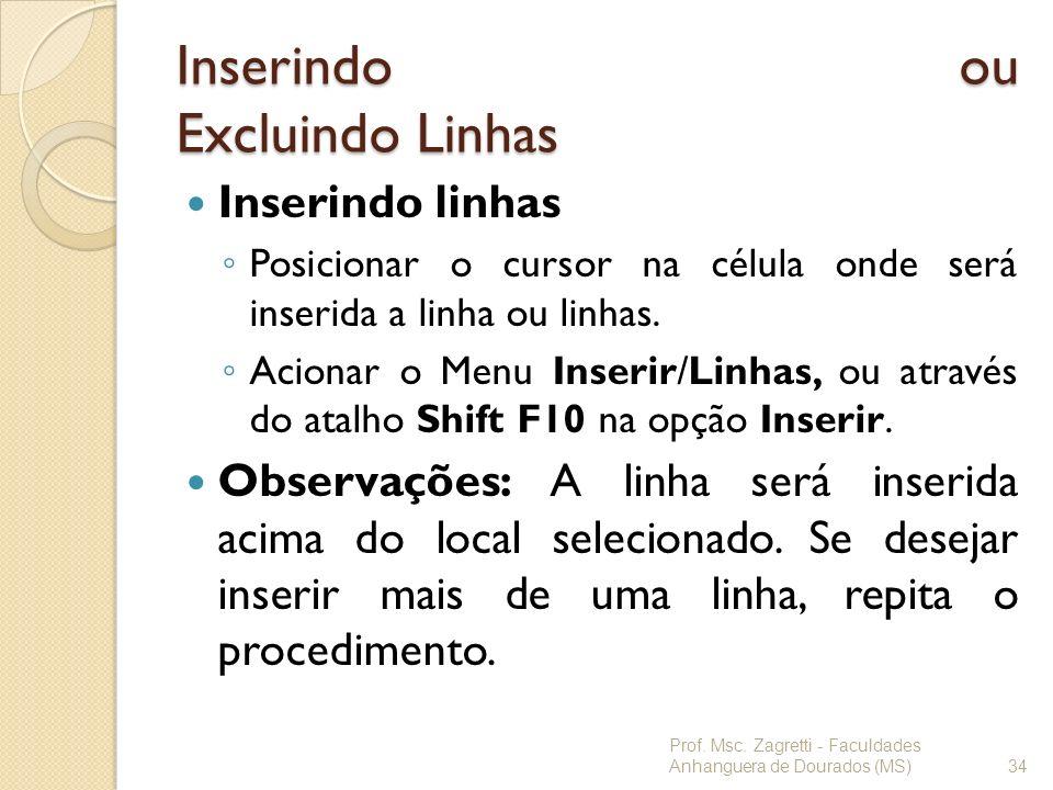 Inserindo ou Excluindo Linhas Inserindo linhas Posicionar o cursor na célula onde será inserida a linha ou linhas. Acionar o Menu Inserir/Linhas, ou a