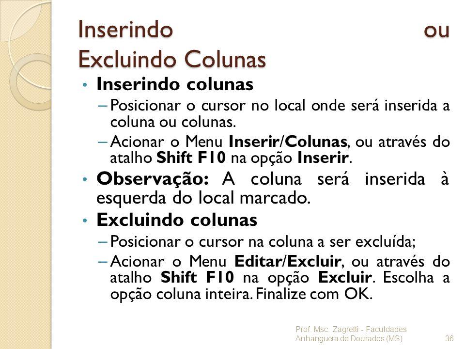 Inserindo ou Excluindo Colunas Inserindo colunas – Posicionar o cursor no local onde será inserida a coluna ou colunas. – Acionar o Menu Inserir/Colun