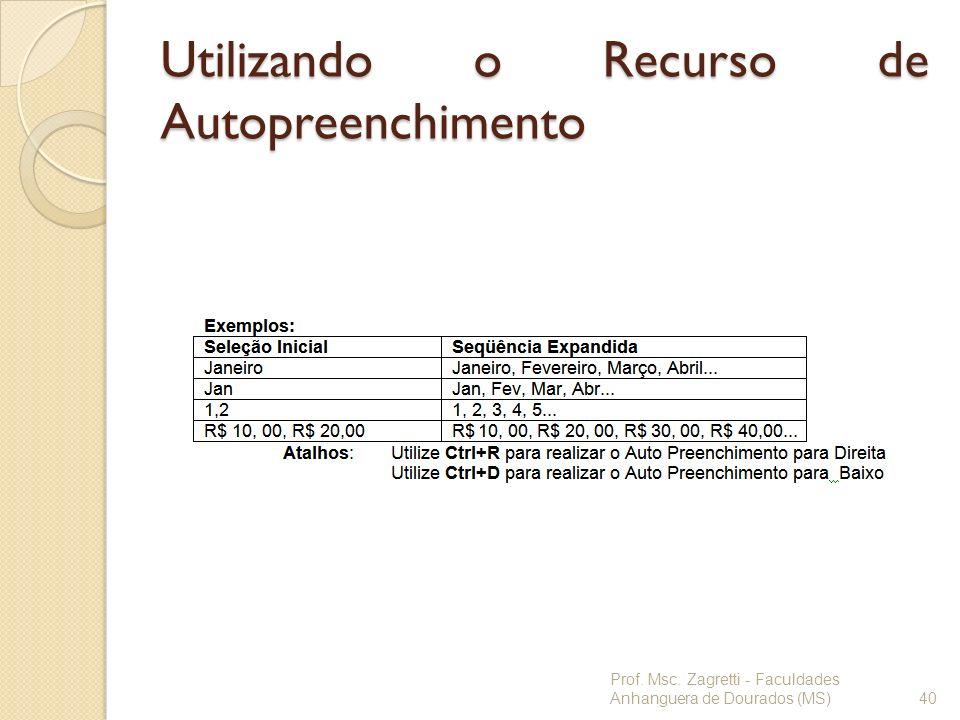 Utilizando o Recurso de Autopreenchimento Prof. Msc. Zagretti - Faculdades Anhanguera de Dourados (MS)40
