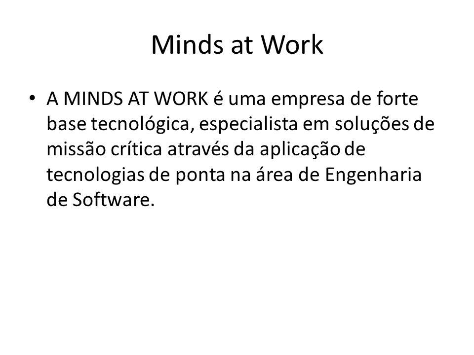 A MINDS AT WORK é uma empresa de forte base tecnológica, especialista em soluções de missão crítica através da aplicação de tecnologias de ponta na área de Engenharia de Software.