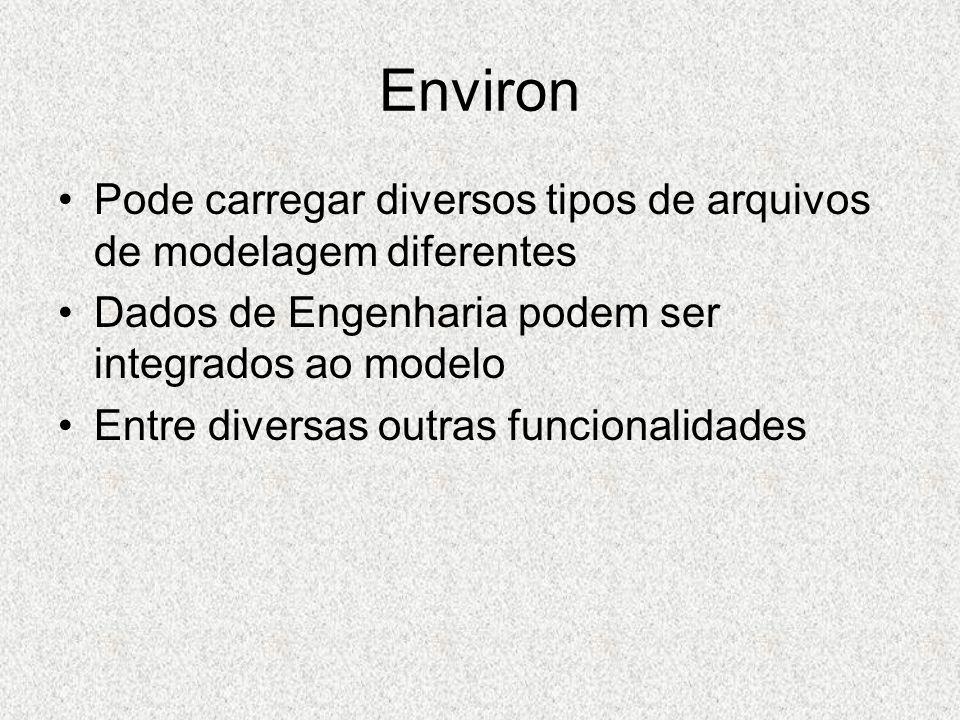 Environ Pode carregar diversos tipos de arquivos de modelagem diferentes Dados de Engenharia podem ser integrados ao modelo Entre diversas outras func