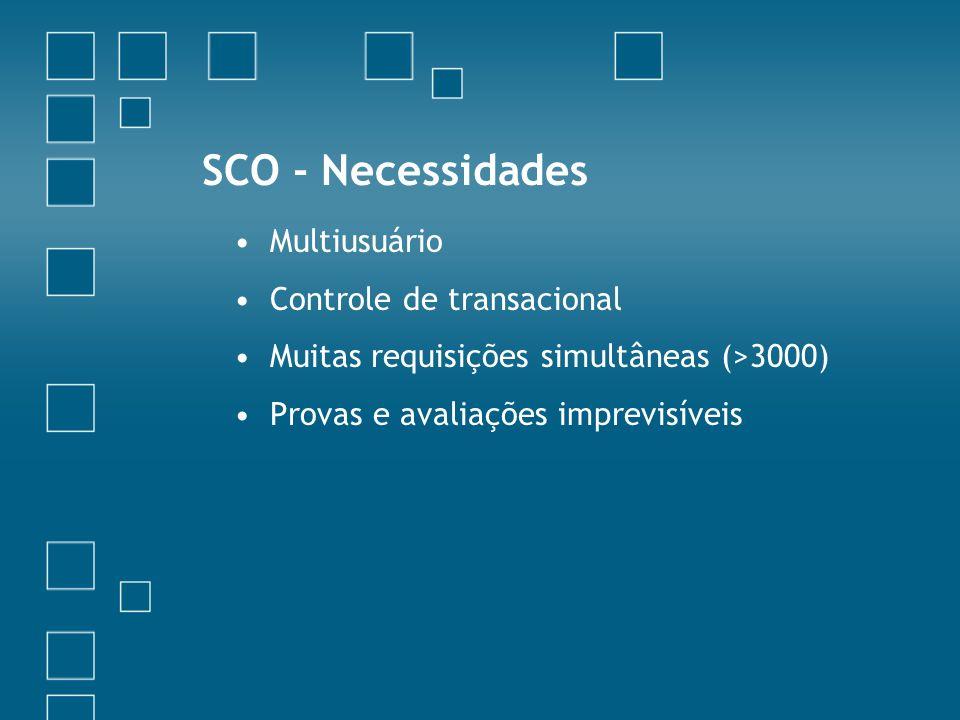 SCO - Necessidades Multiusuário Controle de transacional Muitas requisições simultâneas (>3000) Provas e avaliações imprevisíveis