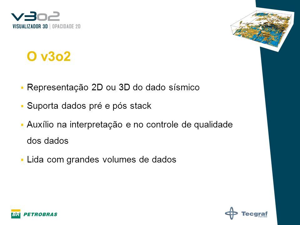 O v3o2 Representação 2D ou 3D do dado sísmico Suporta dados pré e pós stack Auxílio na interpretação e no controle de qualidade dos dados Lida com gra