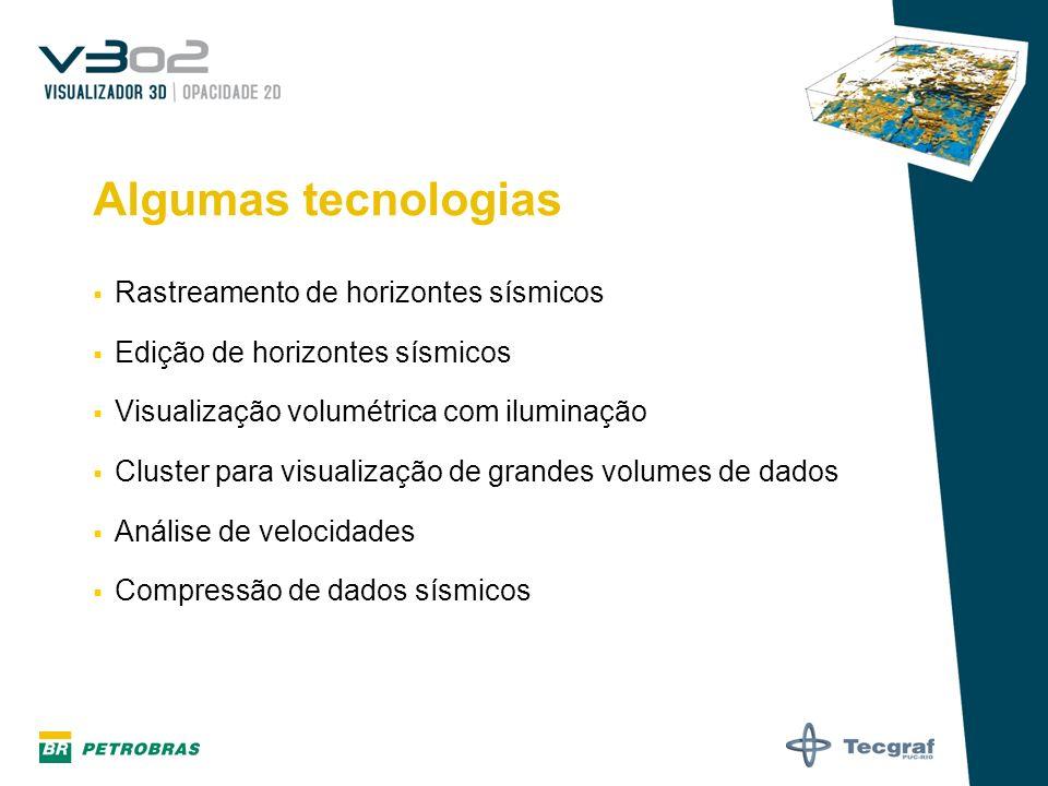 Algumas tecnologias Rastreamento de horizontes sísmicos Edição de horizontes sísmicos Visualização volumétrica com iluminação Cluster para visualizaçã