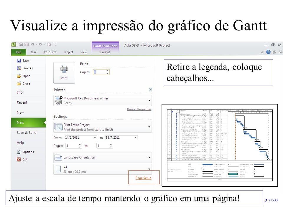 27/39 Visualize a impressão do gráfico de Gantt Ajuste a escala de tempo mantendo o gráfico em uma página! Retire a legenda, coloque cabeçalhos...