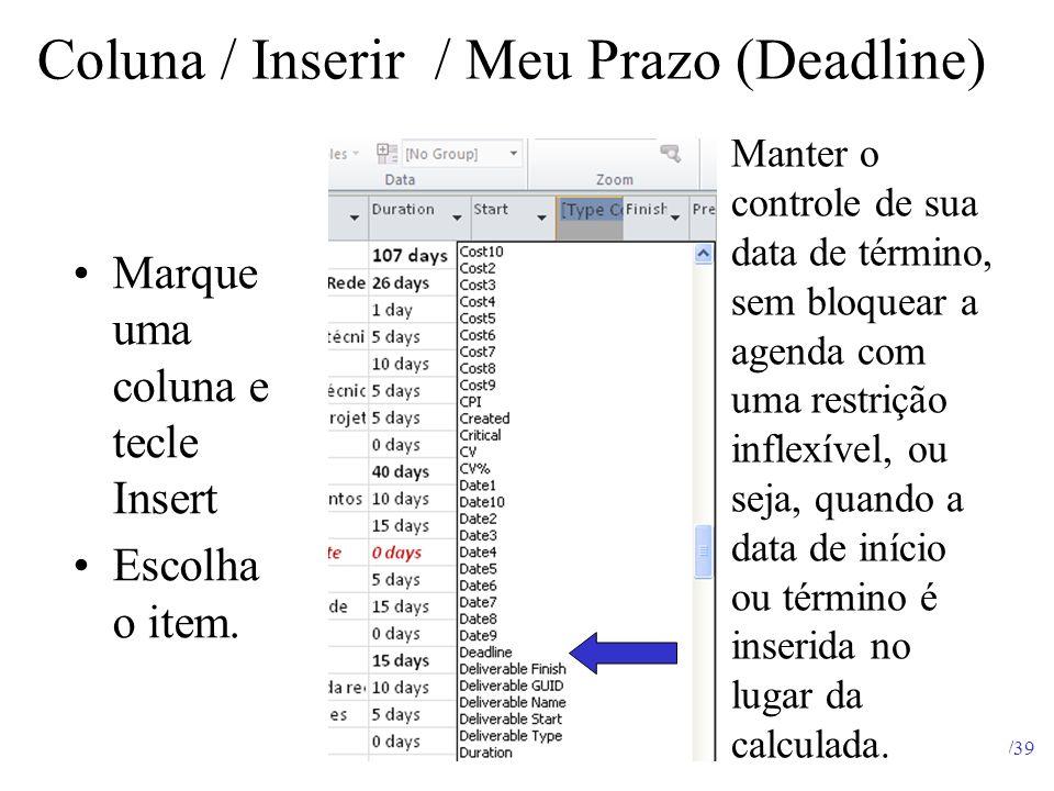 34/39 Coluna / Inserir / Meu Prazo (Deadline) Manter o controle de sua data de término, sem bloquear a agenda com uma restrição inflexível, ou seja, q