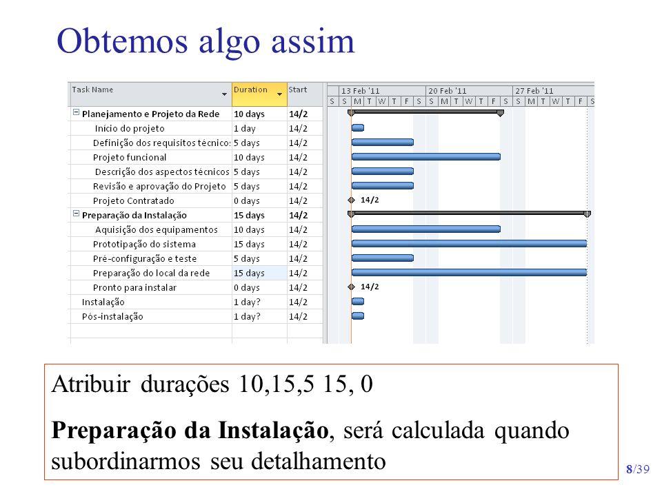 19/39 Formulário Informações sobre a Tarefa - Geral O progresso das atividades vai ser registrado em % concluída