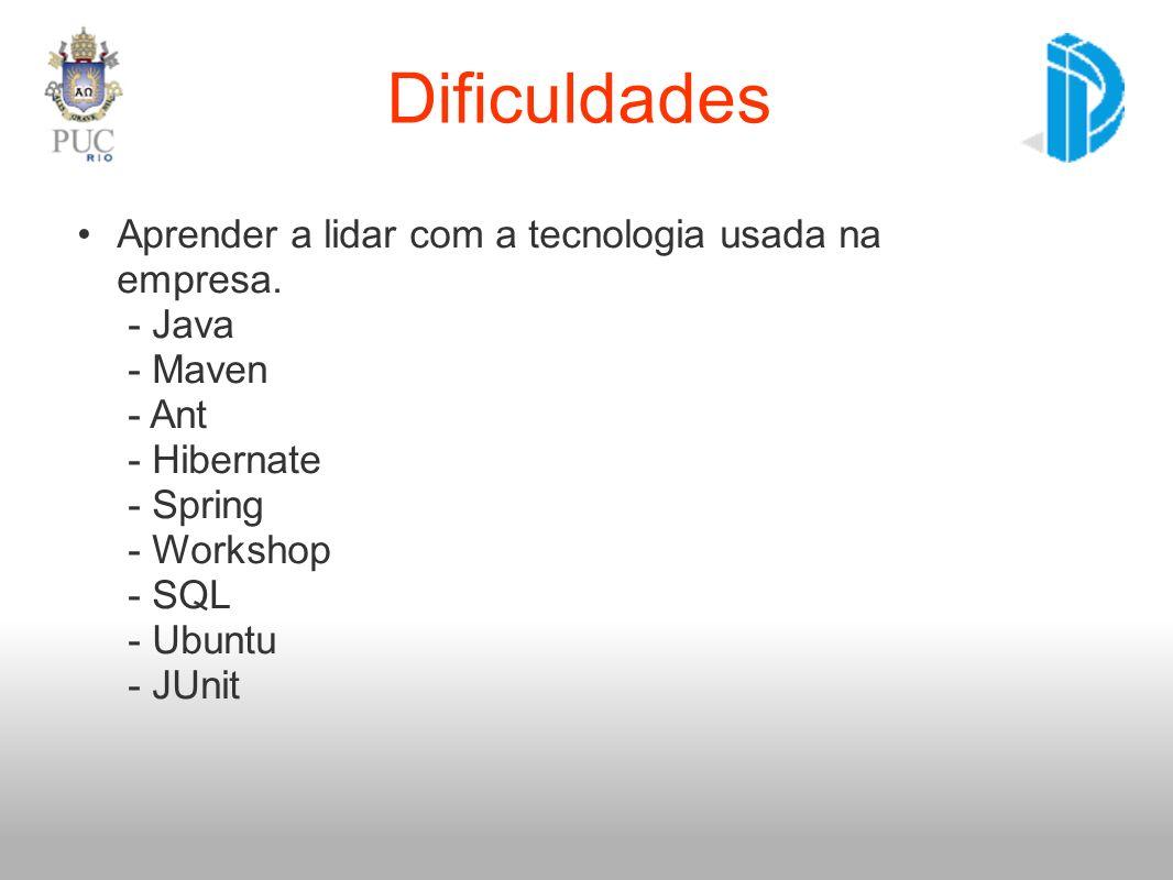 Dificuldades Aprender a lidar com a tecnologia usada na empresa. - Java - Maven - Ant - Hibernate - Spring - Workshop - SQL - Ubuntu - JUnit