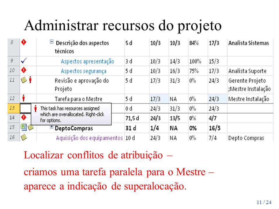 11 / 24 Administrar recursos do projeto Localizar conflitos de atribuição – criamos uma tarefa paralela para o Mestre – aparece a indicação de superal