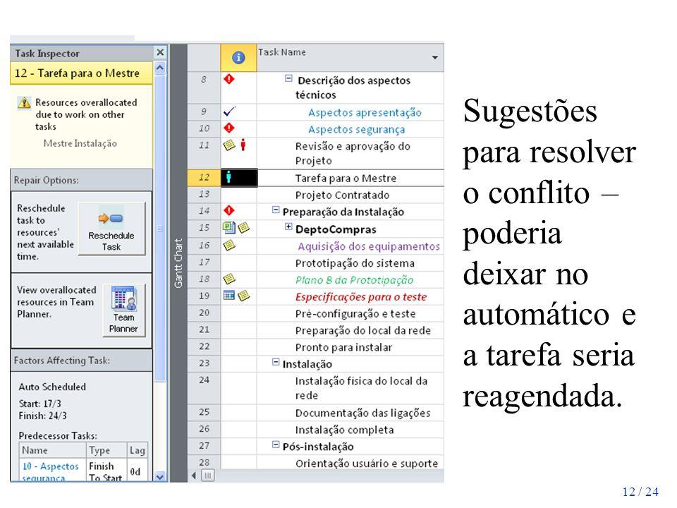 12 / 24 Sugestões para resolver o conflito – poderia deixar no automático e a tarefa seria reagendada.