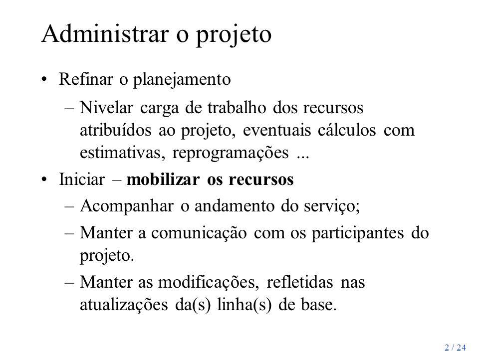 2 / 24 Administrar o projeto Refinar o planejamento –Nivelar carga de trabalho dos recursos atribuídos ao projeto, eventuais cálculos com estimativas,