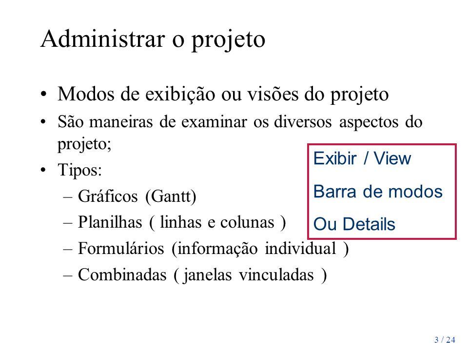 3 / 24 Administrar o projeto Modos de exibição ou visões do projeto São maneiras de examinar os diversos aspectos do projeto; Tipos: –Gráficos (Gantt)