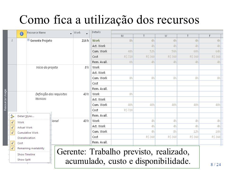 8 / 24 Como fica a utilização dos recursos Gerente: Trabalho previsto, realizado, acumulado, custo e disponibilidade.