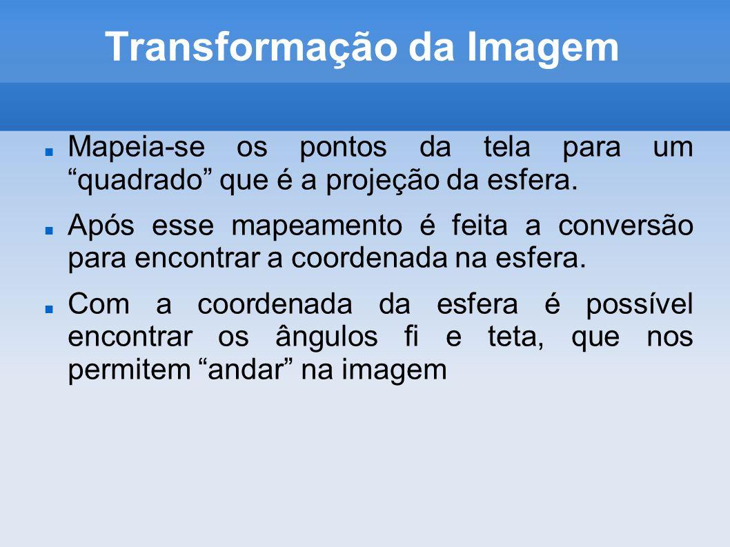 Transformação da Imagem Mapeia-se os pontos da tela para um quadrado que é a projeção da esfera. Após esse mapeamento é feita a conversão para encontr