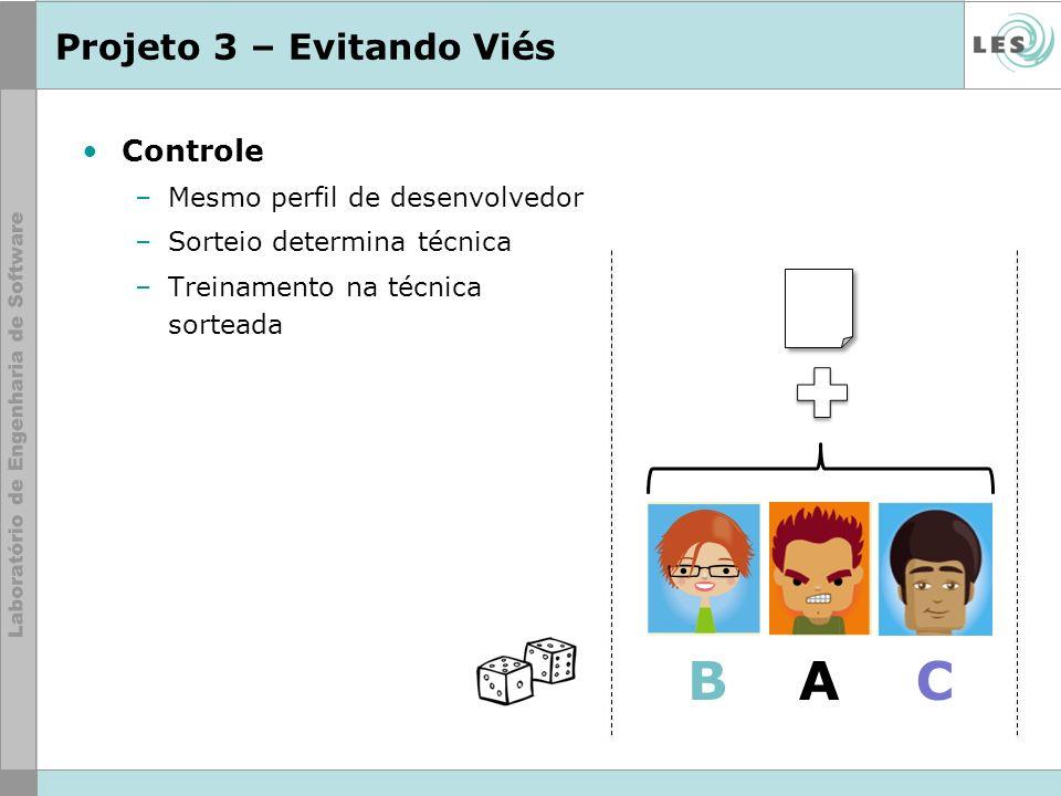 Projeto 3 – Evitando Viés Controle –Mesmo perfil de desenvolvedor –Sorteio determina técnica –Treinamento na técnica sorteada ABC