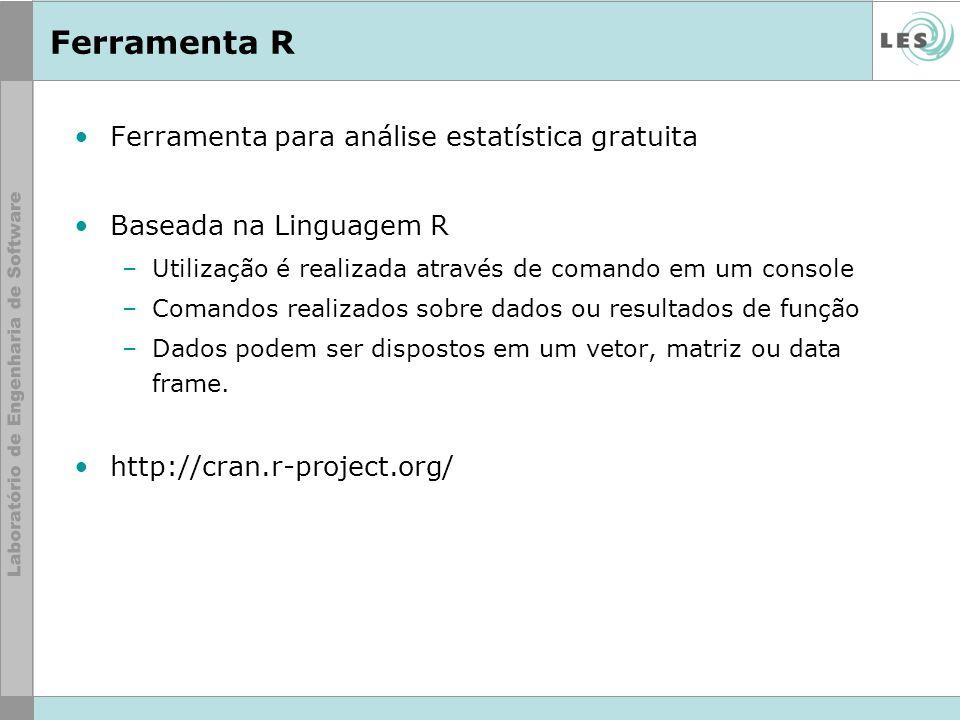 Ferramenta R Ferramenta para análise estatística gratuita Baseada na Linguagem R –Utilização é realizada através de comando em um console –Comandos re