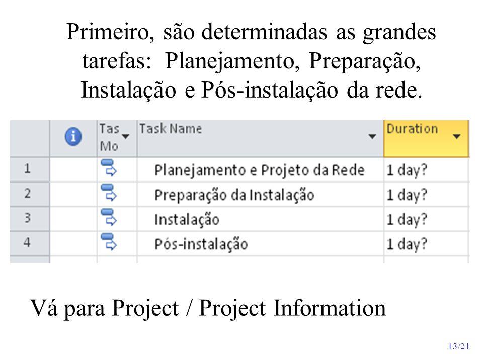 13/21 Primeiro, são determinadas as grandes tarefas: Planejamento, Preparação, Instalação e Pós-instalação da rede. Vá para Project / Project Informat