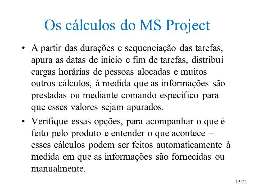 15/21 Os cálculos do MS Project A partir das durações e sequenciação das tarefas, apura as datas de início e fim de tarefas, distribui cargas horárias