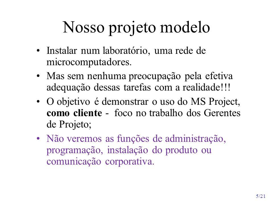 5/21 Nosso projeto modelo Instalar num laboratório, uma rede de microcomputadores. Mas sem nenhuma preocupação pela efetiva adequação dessas tarefas c