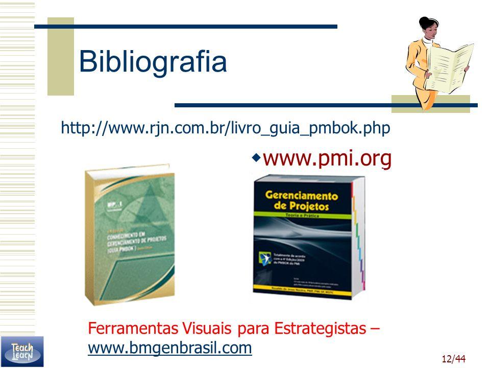 12/44 Bibliografia http://www.rjn.com.br/livro_guia_pmbok.php www.pmi.org Ferramentas Visuais para Estrategistas – www.bmgenbrasil.com www.bmgenbrasil