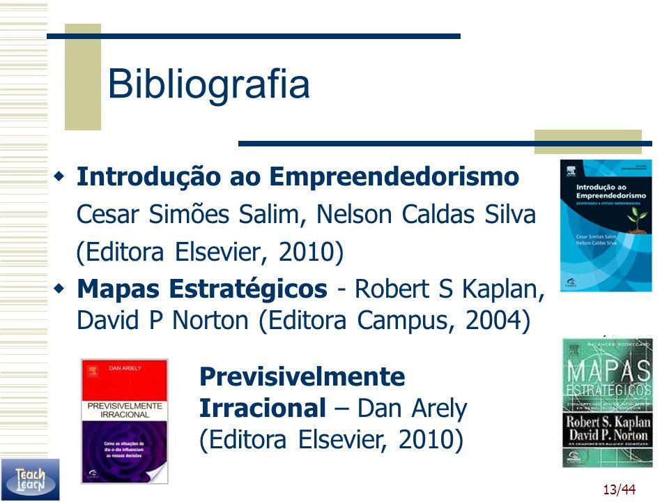 13/44 Bibliografia Introdução ao Empreendedorismo Cesar Simões Salim, Nelson Caldas Silva (Editora Elsevier, 2010) Mapas Estratégicos - Robert S Kapla