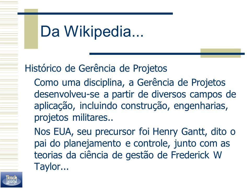 Da Wikipedia... Histórico de Gerência de Projetos Como uma disciplina, a Gerência de Projetos desenvolveu-se a partir de diversos campos de aplicação,