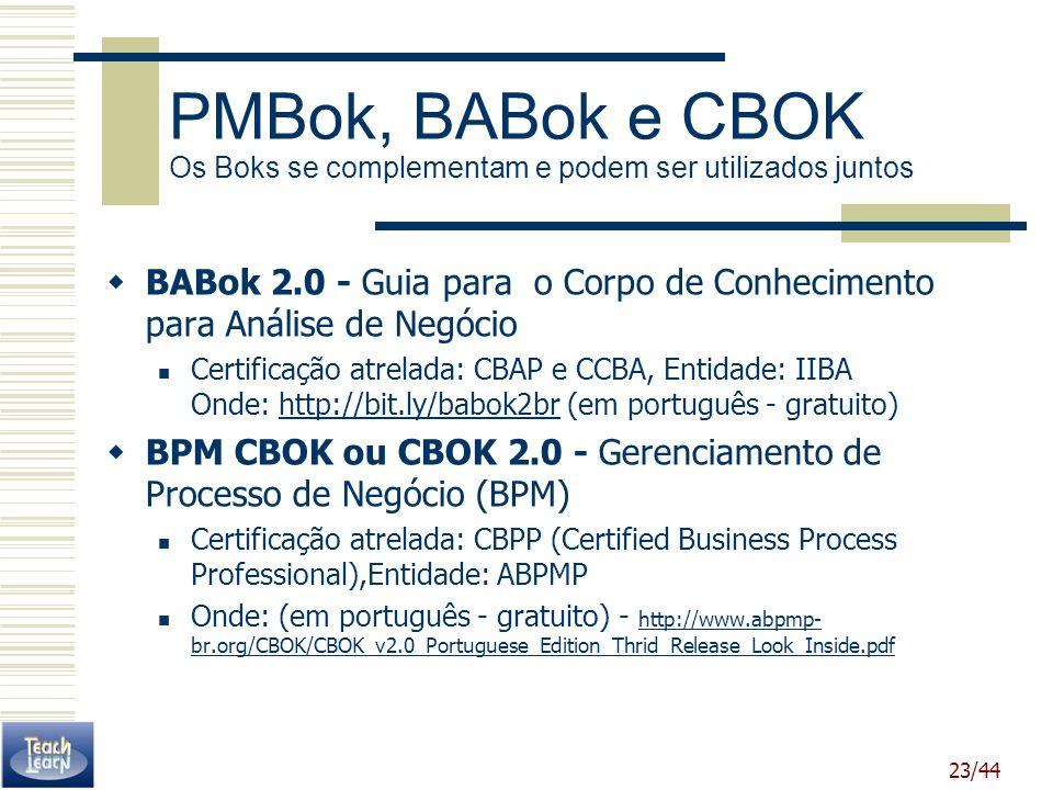 23/44 BABok 2.0 - Guia para o Corpo de Conhecimento para Análise de Negócio Certificação atrelada: CBAP e CCBA, Entidade: IIBA Onde: http://bit.ly/bab
