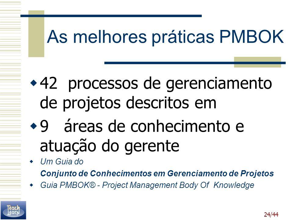 24/44 As melhores práticas PMBOK 42 processos de gerenciamento de projetos descritos em 9 áreas de conhecimento e atuação do gerente Um Guia do Conjun