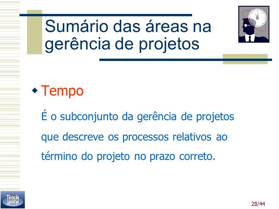 28/44 Sumário das áreas na gerência de projetos Tempo É o subconjunto da gerência de projetos que descreve os processos relativos ao término do projet