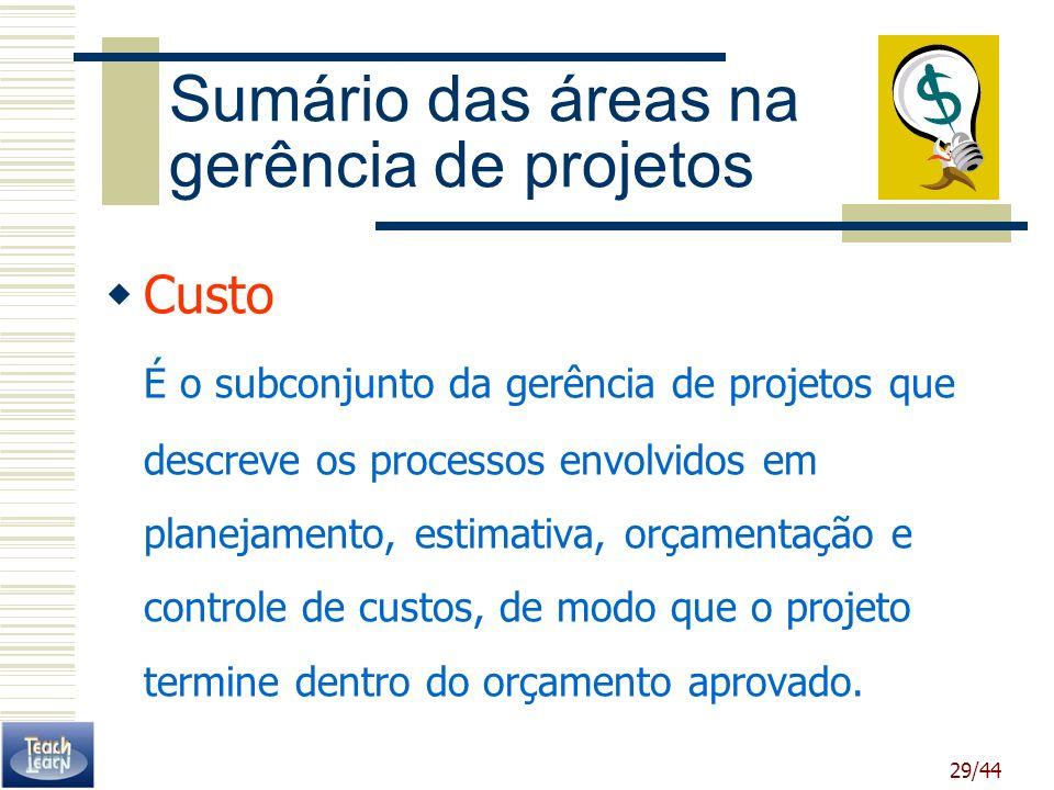 29/44 Sumário das áreas na gerência de projetos Custo É o subconjunto da gerência de projetos que descreve os processos envolvidos em planejamento, es