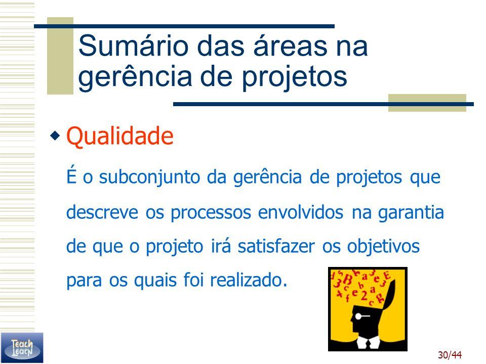 30/44 Sumário das áreas na gerência de projetos Qualidade É o subconjunto da gerência de projetos que descreve os processos envolvidos na garantia de