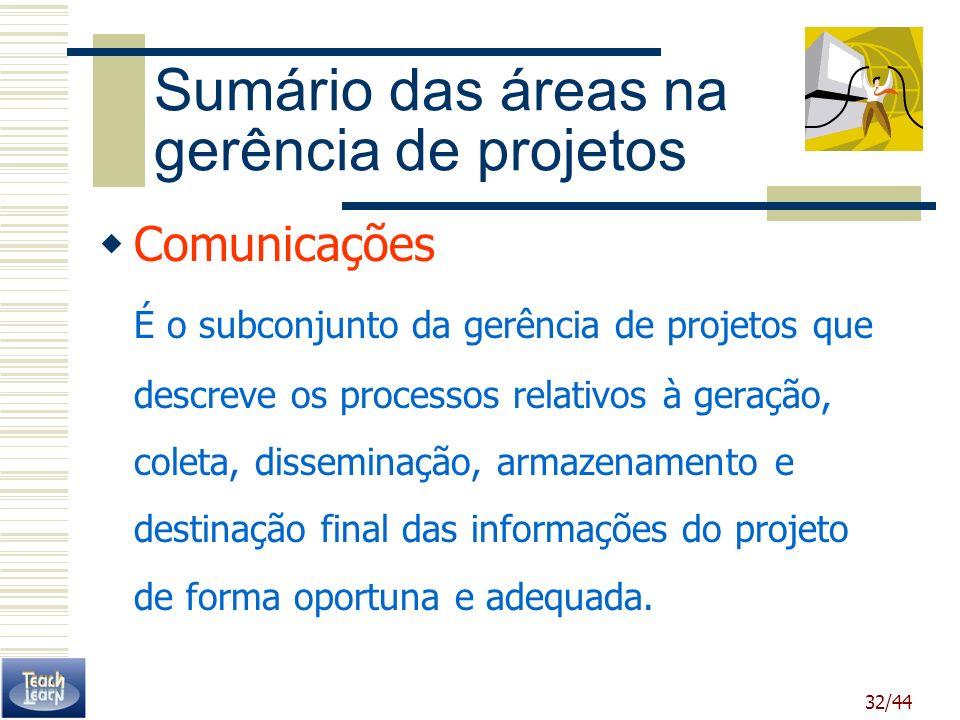 32/44 Sumário das áreas na gerência de projetos Comunicações É o subconjunto da gerência de projetos que descreve os processos relativos à geração, co