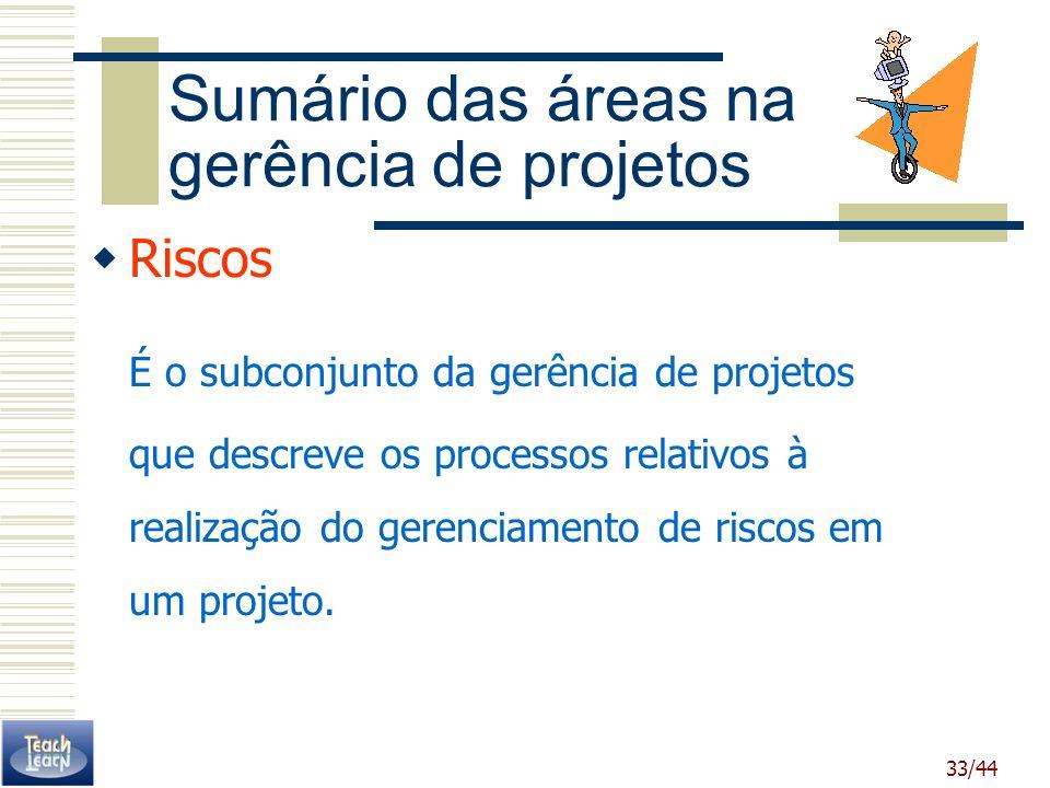33/44 Sumário das áreas na gerência de projetos Riscos É o subconjunto da gerência de projetos que descreve os processos relativos à realização do ger
