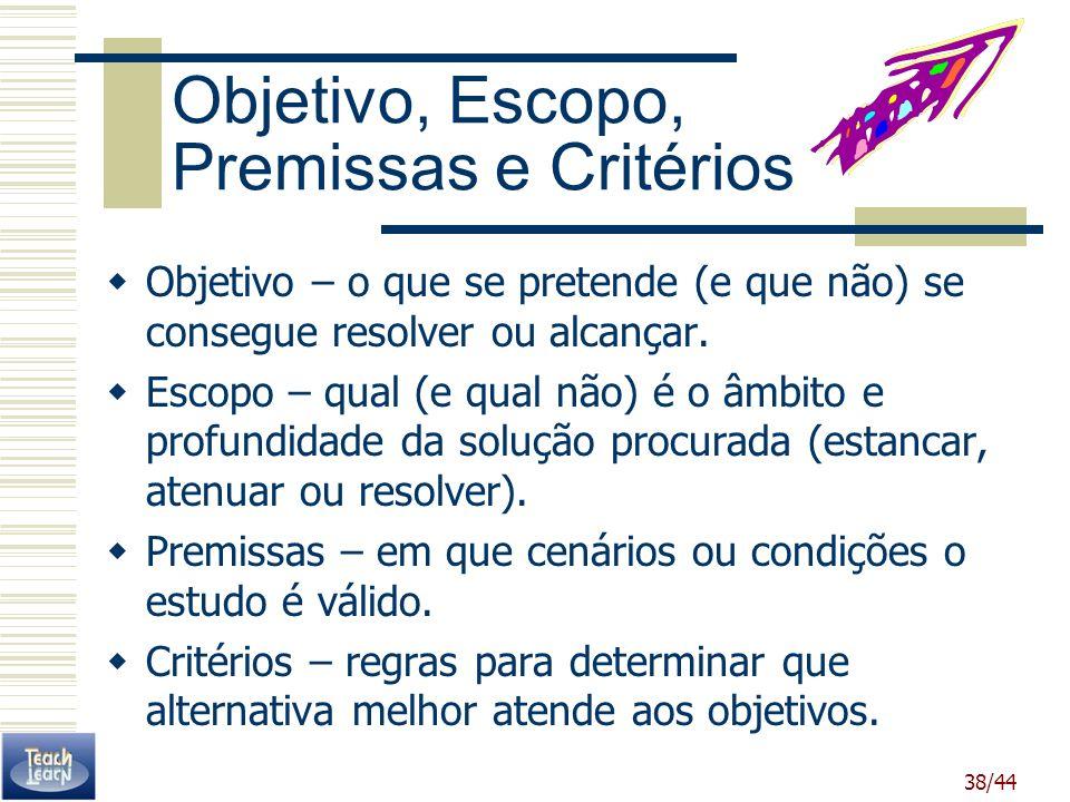38/44 Objetivo, Escopo, Premissas e Critérios Objetivo – o que se pretende (e que não) se consegue resolver ou alcançar. Escopo – qual (e qual não) é