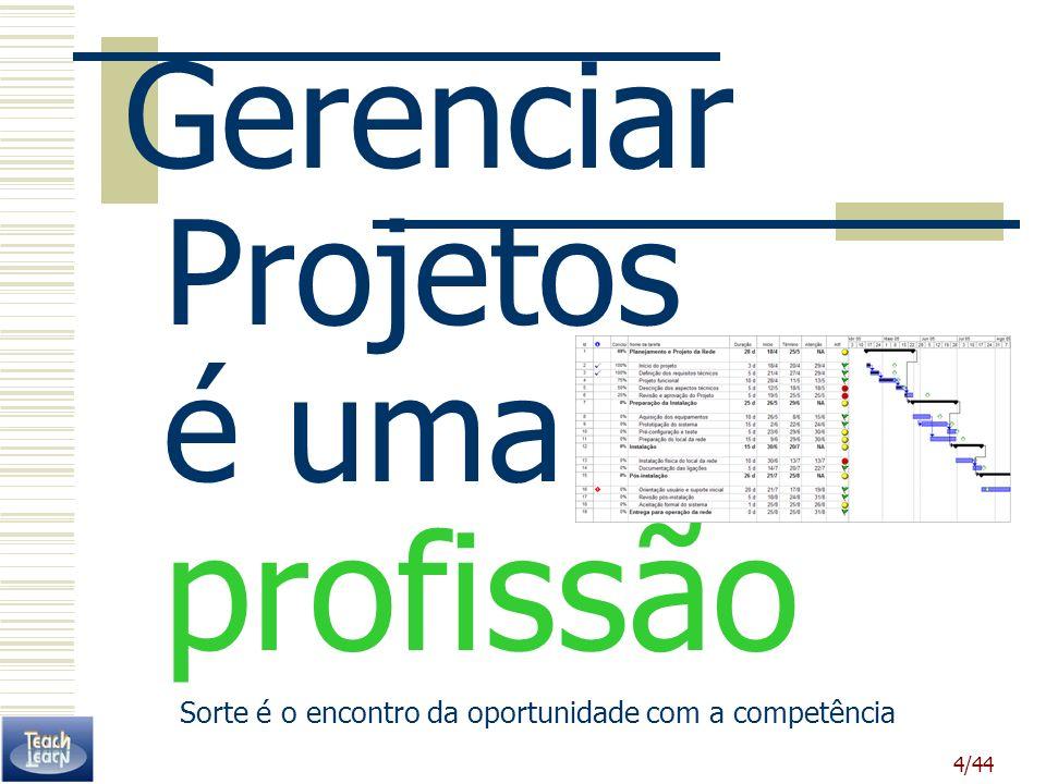 4/44 Gerenciar Projetos é uma profissão Sorte é o encontro da oportunidade com a competência