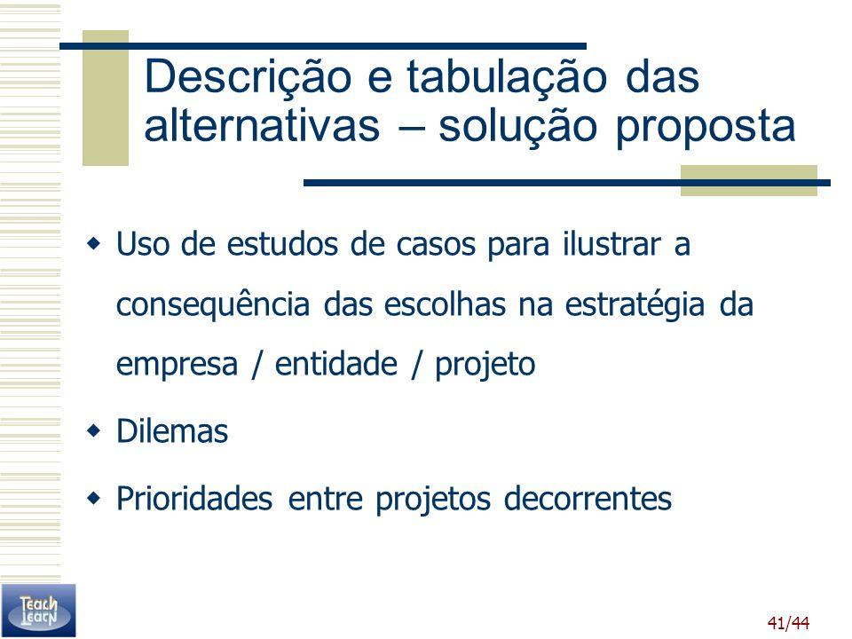 41/44 Descrição e tabulação das alternativas – solução proposta Uso de estudos de casos para ilustrar a consequência das escolhas na estratégia da emp