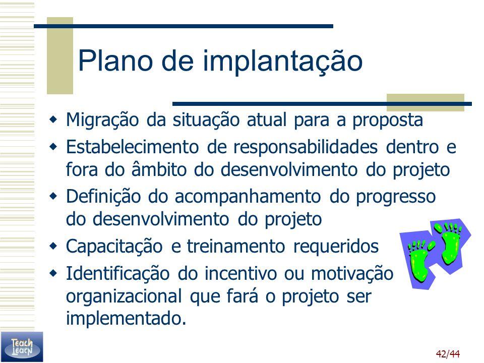42/44 Plano de implantação Migração da situação atual para a proposta Estabelecimento de responsabilidades dentro e fora do âmbito do desenvolvimento