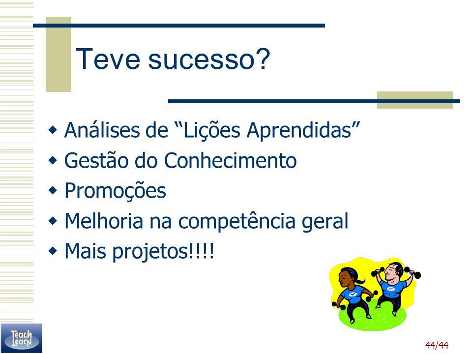 44/44 Teve sucesso? Análises de Lições Aprendidas Gestão do Conhecimento Promoções Melhoria na competência geral Mais projetos!!!!