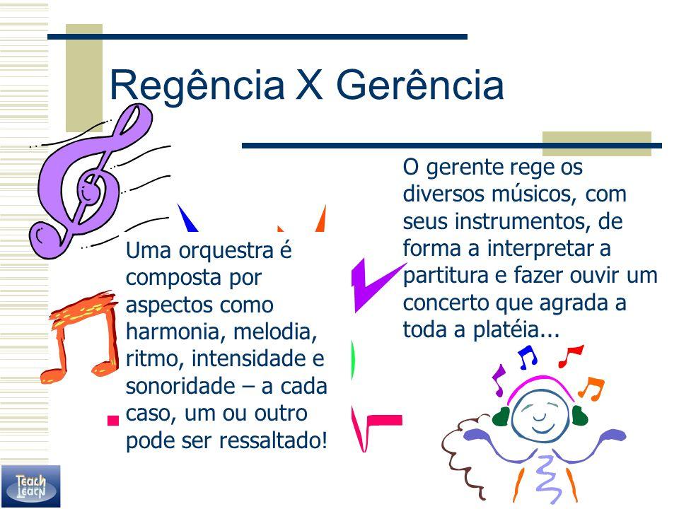 Regência X Gerência O gerente rege os diversos músicos, com seus instrumentos, de forma a interpretar a partitura e fazer ouvir um concerto que agrada