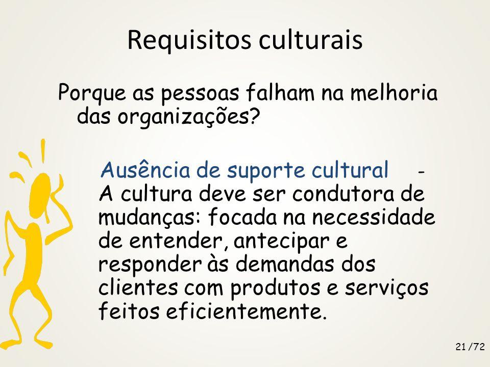 Metodologia Decisões-chave Qual o próximo passo? Voltar aos requisitos culturais Voltar ao processo de análise Continuar o processo de melhoria 20 /72