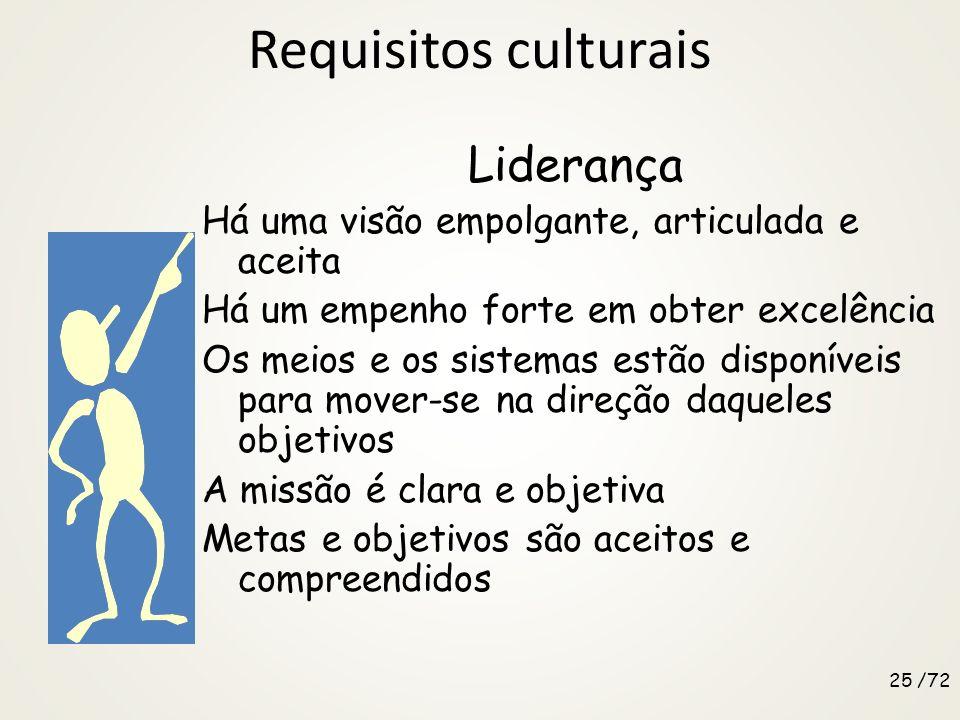Requisitos culturais Gerência de processos A organização é dirigida pela necessidade de eficientemente e eficazmente satisfazer as expectativas dos cl