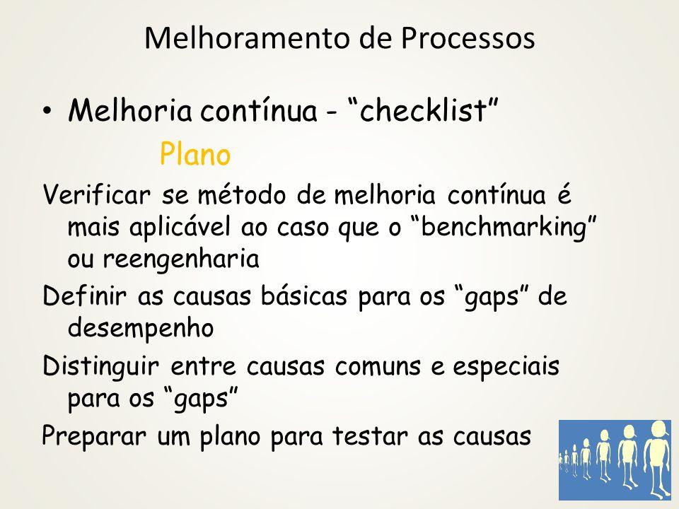 Melhoramento de Processos A definição de benchmarking é encontrar e implementar as melhores práticas que levem a um desempenho superior. Para tal, um