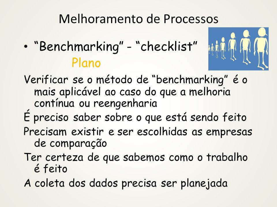Melhoramento de Processos Melhoria contínua - checklist Fazer Verificar se a validade das hipóteses foi testada e confirmada Estudar e agir As soluçõe