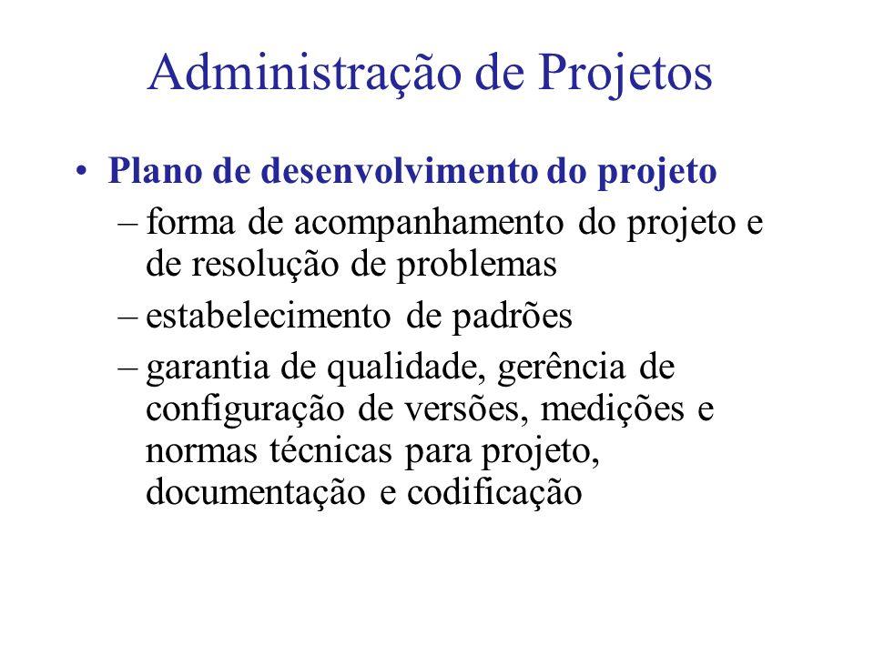 Administração de Projetos Plano de desenvolvimento do projeto –forma de acompanhamento do projeto e de resolução de problemas –estabelecimento de padrões –garantia de qualidade, gerência de configuração de versões, medições e normas técnicas para projeto, documentação e codificação