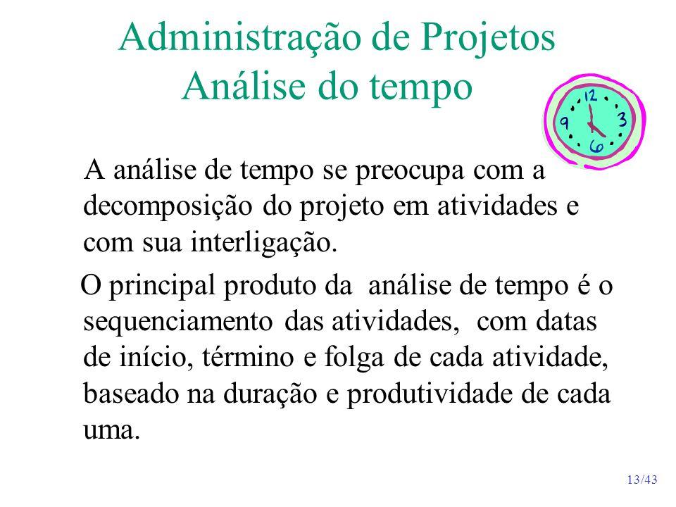 13/43 Administração de Projetos Análise do tempo A análise de tempo se preocupa com a decomposição do projeto em atividades e com sua interligação.
