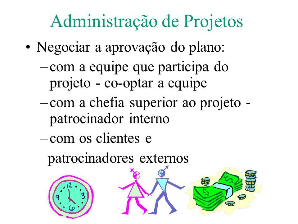 Administração de Projetos Negociar a aprovação do plano: –com a equipe que participa do projeto - co-optar a equipe –com a chefia superior ao projeto - patrocinador interno –com os clientes e patrocinadores externos