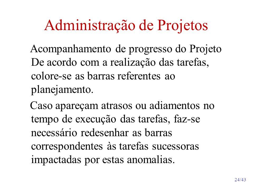 24/43 Administração de Projetos Acompanhamento de progresso do Projeto De acordo com a realização das tarefas, colore-se as barras referentes ao planejamento.